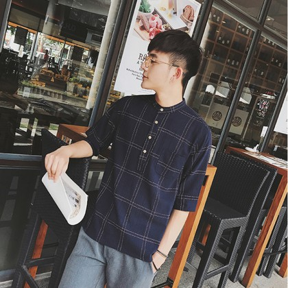 Men's Plaid Standing Collar Button Up Mid Sleeve Casual Fashion Plus Size TShirt
