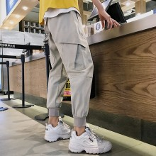 Men's Crop Pants Double Side Pockets Loose Fit Male Street Wear Fashion Pants