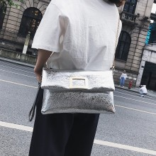 Women Metallic Messenger Clutch Bag Classy Party Fashion Purse Chain Hand Bag