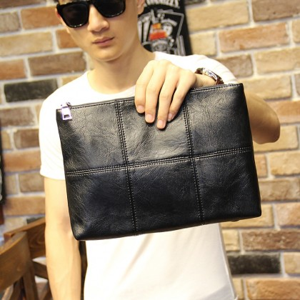 Men's Black Clutch Bag Square Ipad Mobile Hand Bag Male Fashion Big Purse Bag