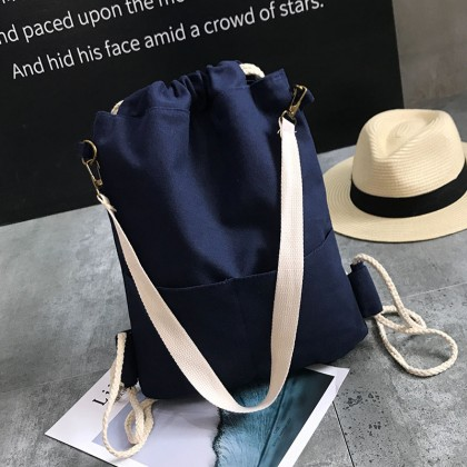 Men's Solid Color Drawstring Backpack Canvas Fashionable Unisex Couple Backpack