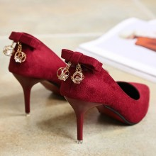Women Suede Stiletto Sexy High Heels Back Rhinestone Accent Plus Size High Heels
