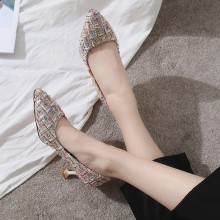 Women Plaid Knit Fabric Pointed High Heels Fashionable Sexy Classy Ladies Shoes