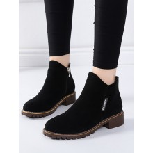Women Suede Easy Wear Low Heel Boots Comfort Style Daily Wear Plus Size Boots