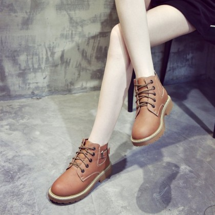 Women Lace Up Martin Boots Low Heel Fashionable Comfort Wear Plus Size Boots