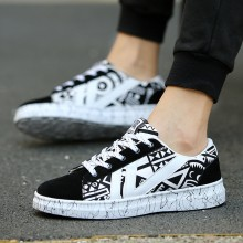 Men's Cool Graphic Fashion Sneakers Unisex Plus Size Couple Lace Up Canvas Shoes