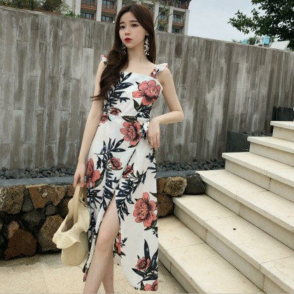 Women Floral Long Dress Square Neck Ruffled Sleeveless Slim Fit Chic Trend Dress
