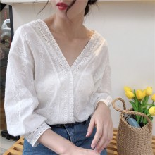 [READY STOCK] Women White Lace V Neck Blouse Lantern Sleeves Summer Chic Fashion Ladies Tops