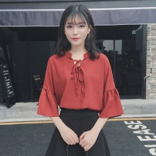 Women Retro Tie Necklace Blouse Trumpet Sleeves Loose Chic Fashion Female Tops