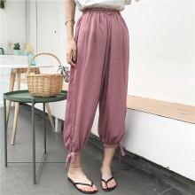 Women Silky Satin Trousers Elastic Waist Tie Lace Edge Loose Fit Retro Pants