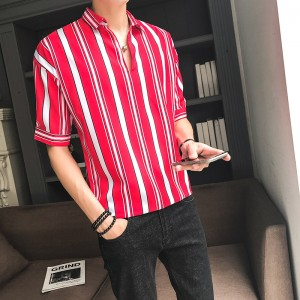 Men's Striped Polo Collared Half Sleeves Summer Fashion Slim Fit Male Shirts