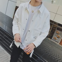 Men's Light Colored Plain Simple Spring Fashion Coat Couple Plus Size Jacket