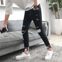 Men's Ripped Skinny Jeans Denim Pants Retro Street Style Fashion Male Trousers