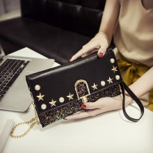 Women Sequins Pearls Fashion Clutch Bag Classy Party Trend Chic Messenger Purse