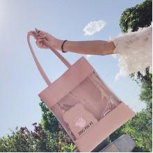 Women Cute Peppa Pig Tote Bag Jelly Zippered Fashionable Ladies Shoulder Bag