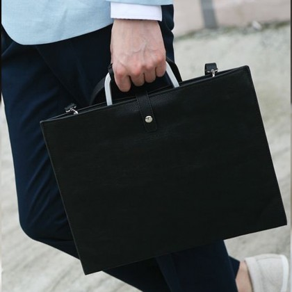 Men's Black Slim File Package Business Briefcase Casual Look Male Fashion Bags
