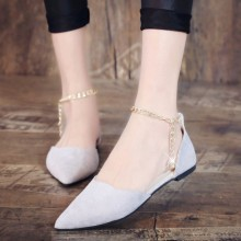 Women Pointed Shallow Mouth Suede Shoes Ankle Buckle Chain Fashion Flat Shoes