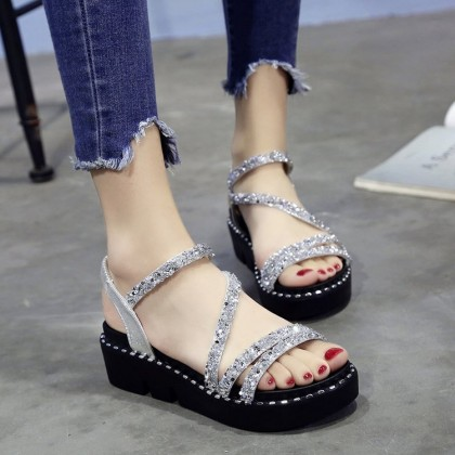 Women Sequins Shiny Roman Sandals Muffin Bottom Retro Trend Fashion Sandals
