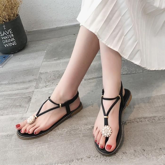 ba1f54d77b3 Women Fashion Thong Sandals Flat Heel Elastic Strap Beach Trend ...