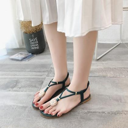 Women Fashion Thong Sandals Flat Heel Elastic Strap Beach Trend Plus Size Sandal
