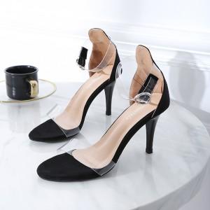 Women Glass Stiletto Sandals Ankle Transparent Strap Sexy Fashion High Heels