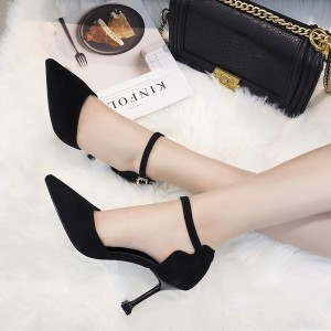 Women Pointed Shallow Mouth Stiletto Sexy High Heels Ankle Strap Fashion Shoes