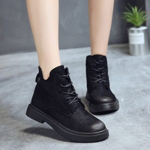 Women Suede Black Martin Boots Ankle High Lace Up Outdoor Winter Fashion Boots