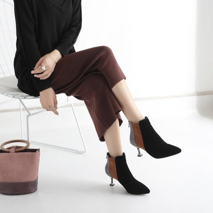 Women Pointed Stiletto Boots Ankle High Winter Boots Sexy Fashion Tube Boots