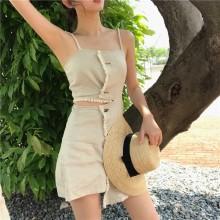 Women Retro Chic Irregular Suspender Skirt Dress Sleeveless Summer Fashion Dress