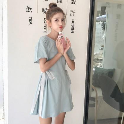 Women Retro Loose Mid Skirt Dress Side Tie Lace Spring Fashion Ladies Chic Dress