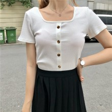 Women Solid Color Square Neck Line Blouse Summer Street Fashion Slim Fit Tops