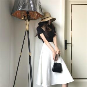 Women Solid Color Retro High Waist Umbrella Skirt Ladies Autumn Fashion Skirt