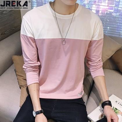 Men's Color Block Classic Long Sleeves Round Neck Comfort Wear Plus Size T Shirt