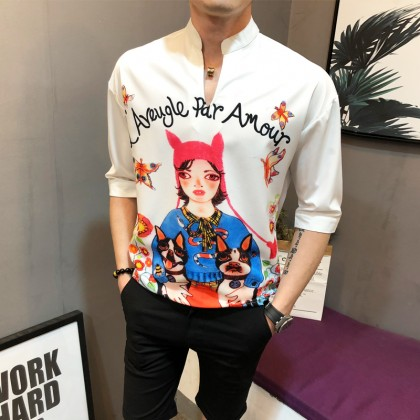 Men's Printed Standing Collar Polo Shirt Hot Trend Party Clothes Plus Size Shirt