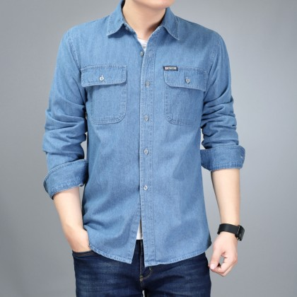 Men's Denim Polo Collared Long Sleeve Basic Must Have Fashion Plus Size Shirt
