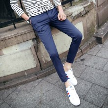 Men's Slim Fit Cropped Pants Street Trend Handsome Wear Male Fashion Pants