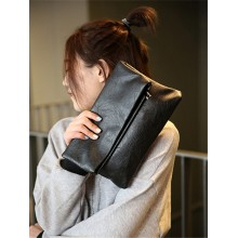 Women Soft Leather Folding Clutch Bag Practical Fashion Make Up Envelope Bag