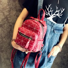 Women Plaid Cute Backpack Mini Chic Fashion Bags Ladies Trendy Mobile Bags
