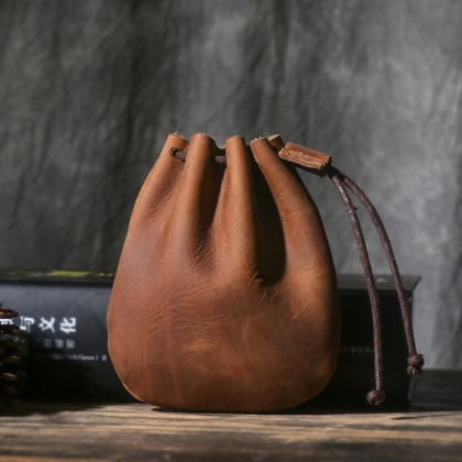 Men's Vintage Leather Pouch Small Purse Drawstring Bag Handmade Coin Wallet