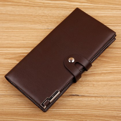 Men's Leather Long Buckle Wallet Money Clip Multi Card Compartment Mobile Bag