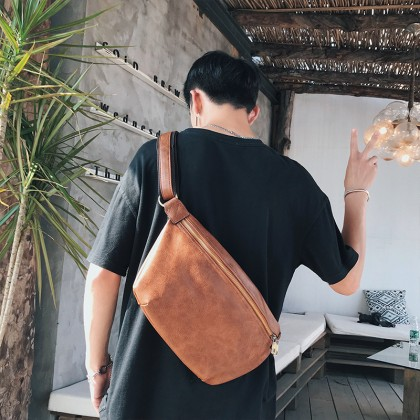 Men's Retro Diagonal Chest Bag Large Capacity Unisex Couple Sling Cross Body Bag