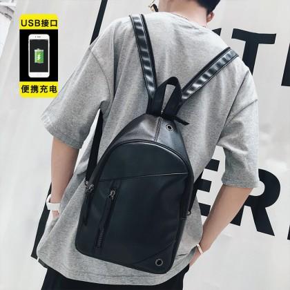 Men's Black Multi Purpose Sling Backpack Retro Fashion Unisex Couple Backpack