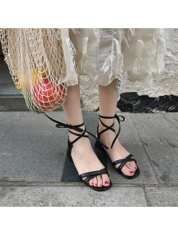 Women Bow Tie Strap Fairy Shoes Mid High Heels Fashionable Ladies Sandals
