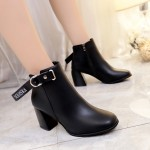 Women Leather Tube Boots Thick Square High Heel Side Zipper Trendy Fashion Boots