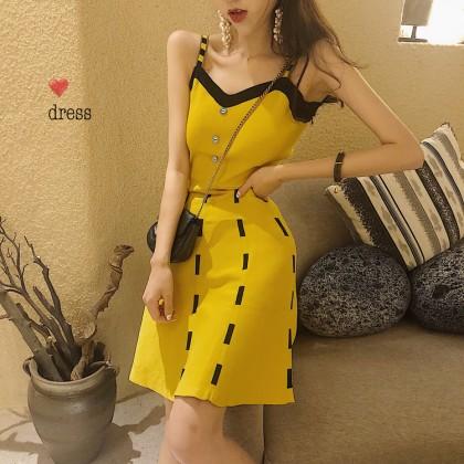 Women Retro Chic Slim V-Neck Mid Skirt Summer Fashion Sleeveless Dress