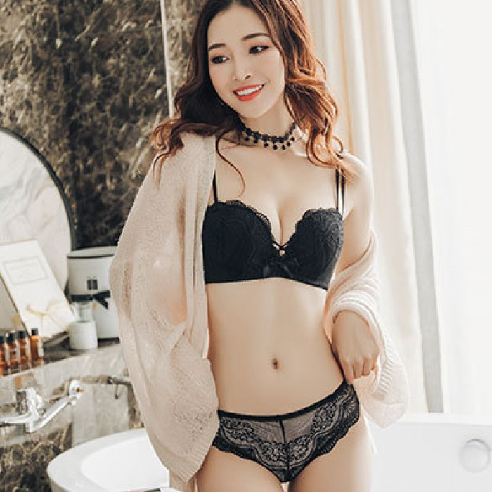 268dcccb3a5f5 Women Anti-Sagging Bra No Steel Ring Sexy Japanese Fashion Lace Underwear  Set