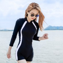 Women Professional Sport Swimsuit Long Sleeve Conservative Plus Size Swimwear