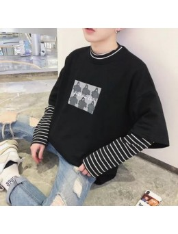 Men's Round Neck T Shirt Loose Fit Long Sleeve Fashion Tees