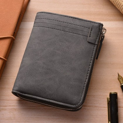 Men's Retro Multi-Function Zippered ID Card Wallet