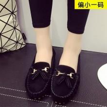Women Suede Flat Round Head Formal Wear Slip Peas Shoes